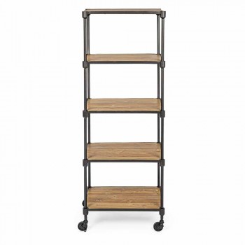 Bookcase in Painted Steel with Wheels and Shelves in Teak Homemotion - Fulvia