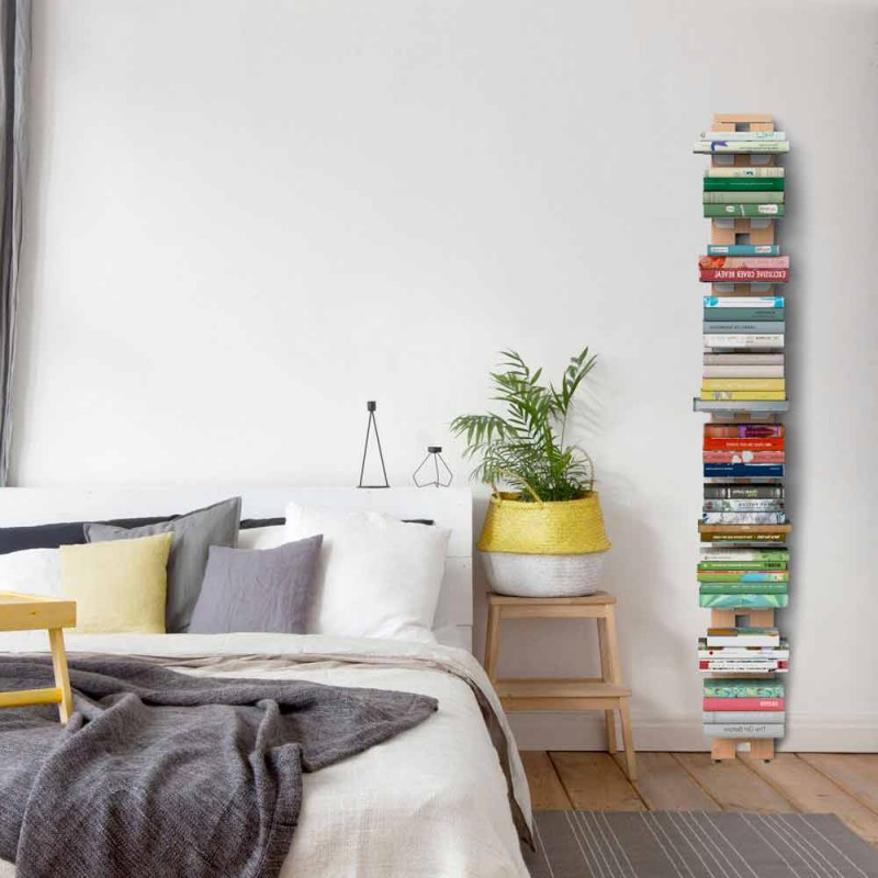 Zia Ortensia wall-mounted wooden bookcase made in Italy