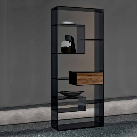 Bookcase in Smoked Glass with Canaletto Walnut Wood Drawer Italian Design - Linzy
