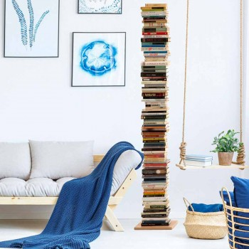 Modern column bookcase Zia Ortensia beech wood made in Italy