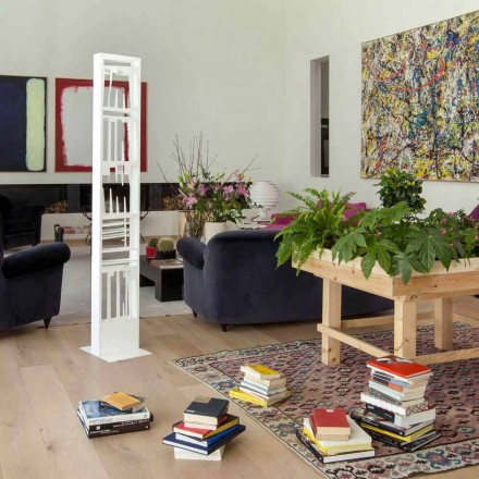 Modern Floor Bookcase with White Metal Shelves Made in Italy - Bolivia