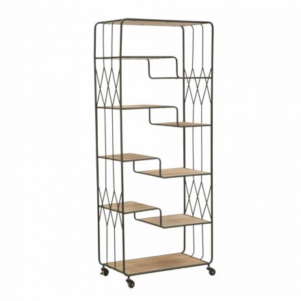 Industrial Style Floor Bookcase with Offset Iron and MDF Shelves - Chuck