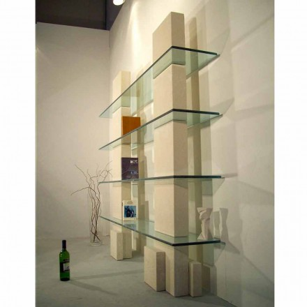Modular bookcase made of Vicenza natural stone and crystal Poplia