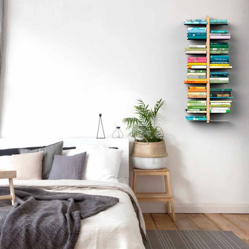 Modern wooden hanging bookcase Zia Bice wall-mounted made Italy