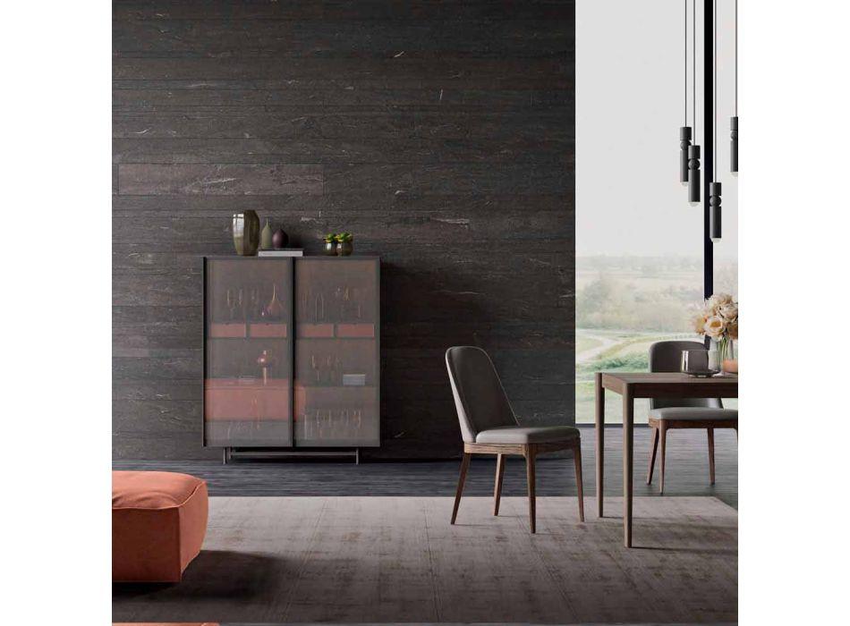 2-Door Sideboard in Ecological Wood and Metal Design Living Room or Entrance - Aaron