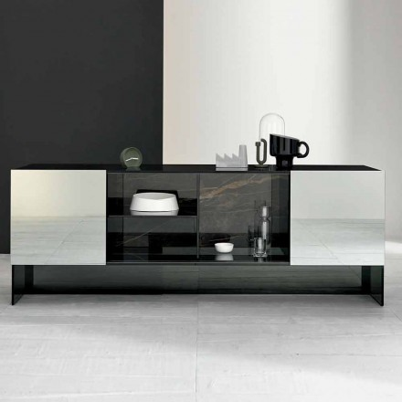 Entrance Design Sideboard with 2 Doors in Smokey Glass  Made in Italy - Scocca