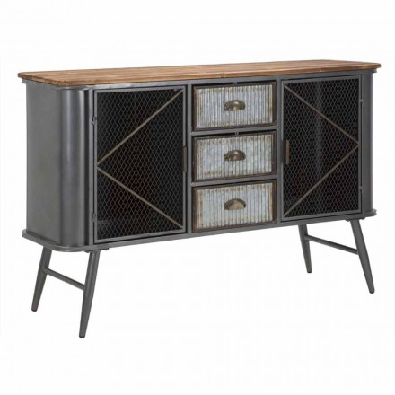 Vintage Industrial Design Living Room Sideboard in Iron and Wood - Akimi