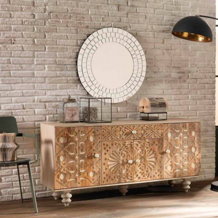 Ethnic sideboard of design made in varnished mango wood Centola