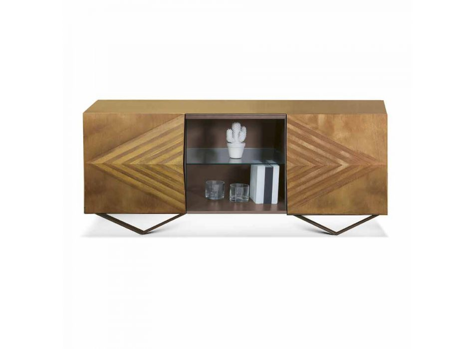 2 or 4 Doors Wooden Sideboard with Crystal Shelves Made in Italy - Gardena