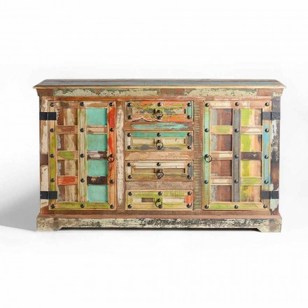 Sideboard in Colored Recycled Wood of Vintage Design 2 Doors 4 Drawers - Cocorita