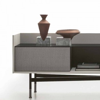 Sideboard in Mdf with Smoked Glass Top and Metal Base Made in Italy - Tonic