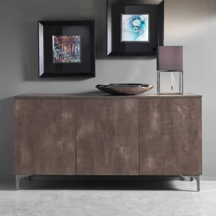 Modern Cupboard, Three Doors Melamine Wood Bronze or Grey Made in Italy – Clemente