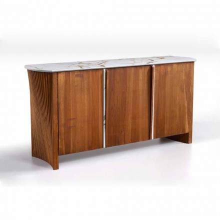 Wooden Sideboard with Marble Effect Gres Top, High Quality Made in Italy - Wonka