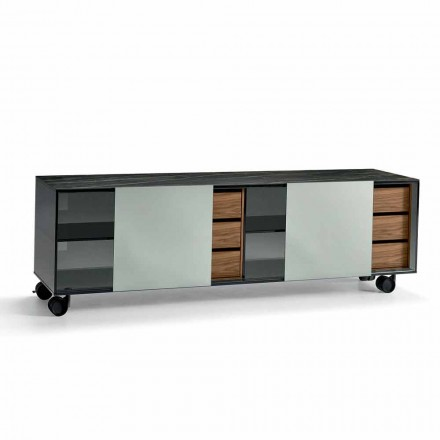 Modern Sideboard on Wheels in Smokey Glass and Ceramic Top Made in Italy - Scocca