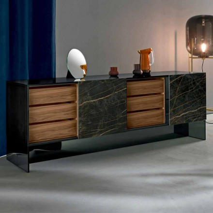Living Room Sideboard with 2 Doors in Ceramic and Smokey Glass Structure Made in Italy - Scocca