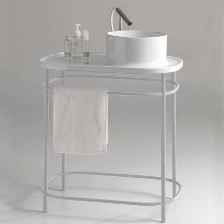 Shelf with Countertop Washbasin with Metal Structure Made in Italy - Uber