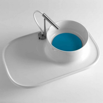 Shelf with Integrated Washbasin in Glossy White Ceramic Made in Italy - Uber