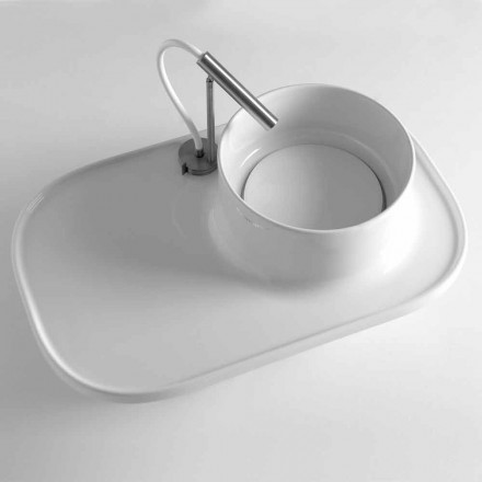 Shelf with Integrated Washbasin in Colored Ceramic Made in Italy - Uber