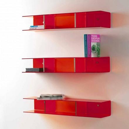 Modern design wall shelf Taira, made of transparent methacrylate