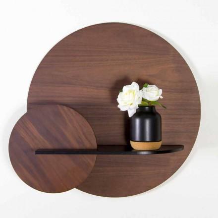 Modular Modern Shelf in Walnut and Black Painted Plywood - Amena