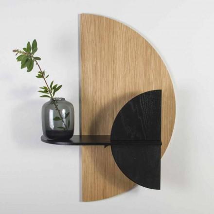 Modern Design Modular Shelf in Oak and Black Painted Plywood - Arabia