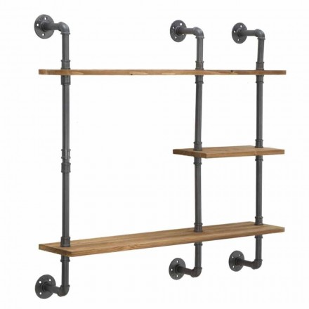 Industrial and Modern Style Wall Shelves in Iron and Wood - Katrine