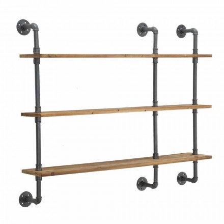 Industrial Style Wall Shelves in Iron and Wood - Eve