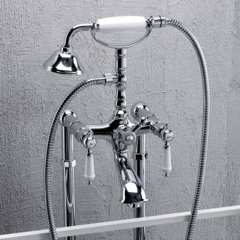 Column Mixer for Bathtub with Shower in Brass Made in Italy - Shelly