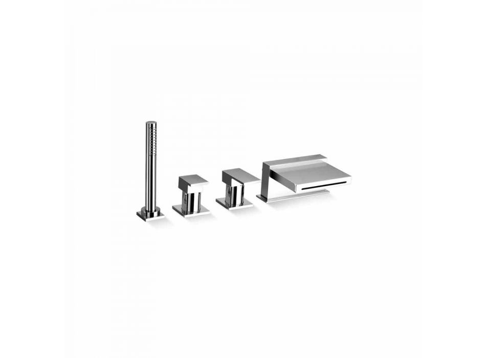 4 Hole Bathtub Mixer with Waterfall Spout Made in Italy - Panela