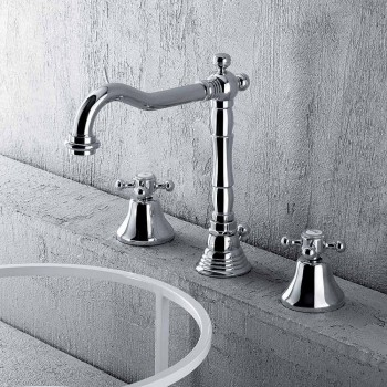 Classic 3-Hole Mixer for Washbasin in Brass Made in Italy - Lisca