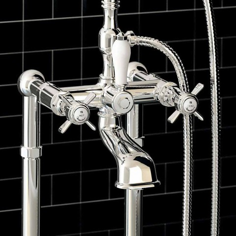 Classic Floor Mixer for Bathtub Made in Italy Brass - Omidio