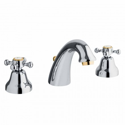 Classic Design 3-Hole Basin Mixer in Brass Made in Italy - Lisca