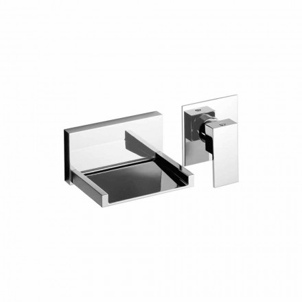Modern Wall Mounted Basin Mixer with Waterfall Spout Made in Italy - Bibo