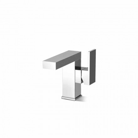 Side Lever Basin Mixer Without Drain in Brass Made in Italy - Panela