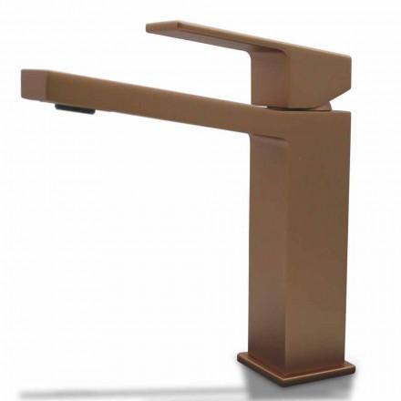 Modern Washbasin Mixer in Chrome or Colored Brass Squared Design - Zago