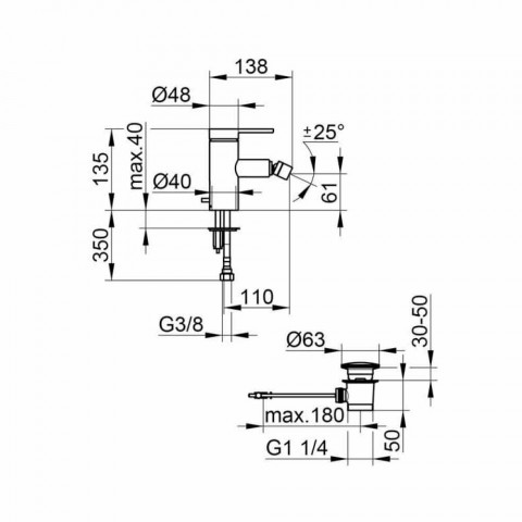Modern bidet mixer with pop-up waste in chrome metal - zanio