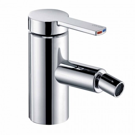 Bidet Mixer with Saltarello Drain in Chrome Brass, Luxury - Zanio