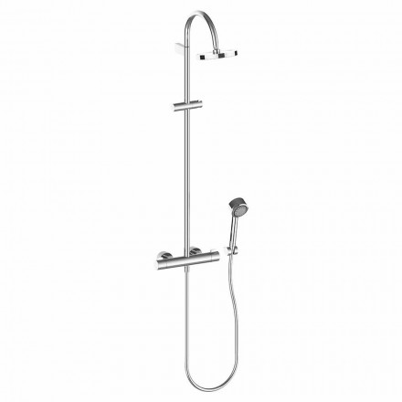 Shower column with shower head and handshower in chromed brass, high quality - Zanio