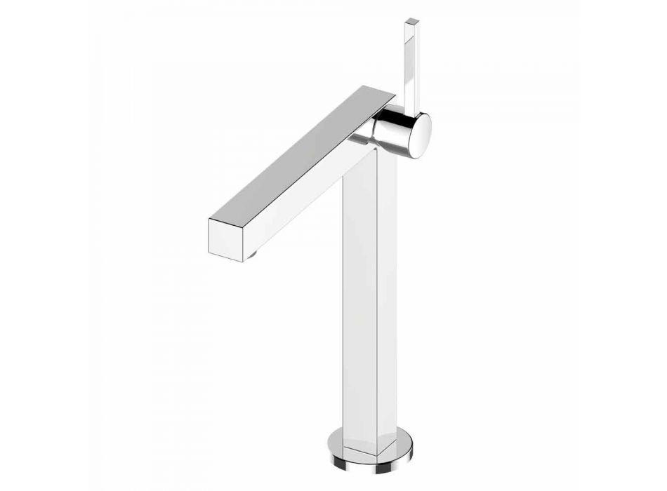 Modern Bathroom Washbasin Mixer in Chrome Finish Metal - Girino