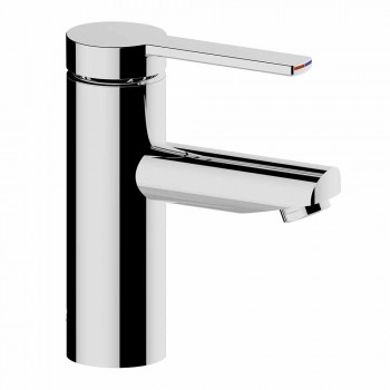 Modern Bathroom Sink Mixer in Chrome-Plated Metal - Zanio