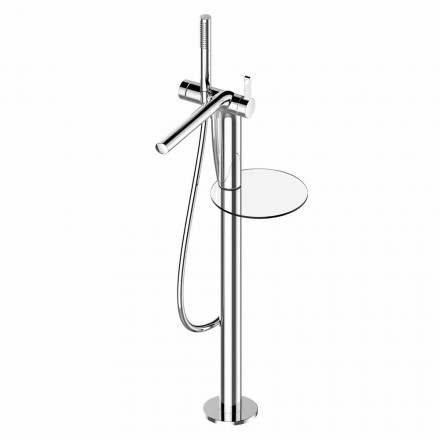 Single-lever mixer for freestanding bathtub with brass handshower - Pinto