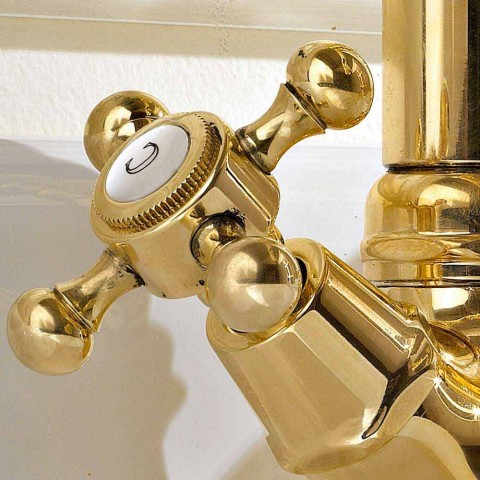 Vintage Design Single-Hole Basin Mixer in Brass Made in Italy - Ursula