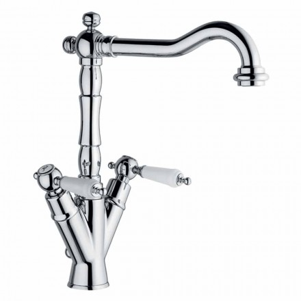 Single-Hole Mixer for Classic Washbasin in Brass Made in Italy - Shelly