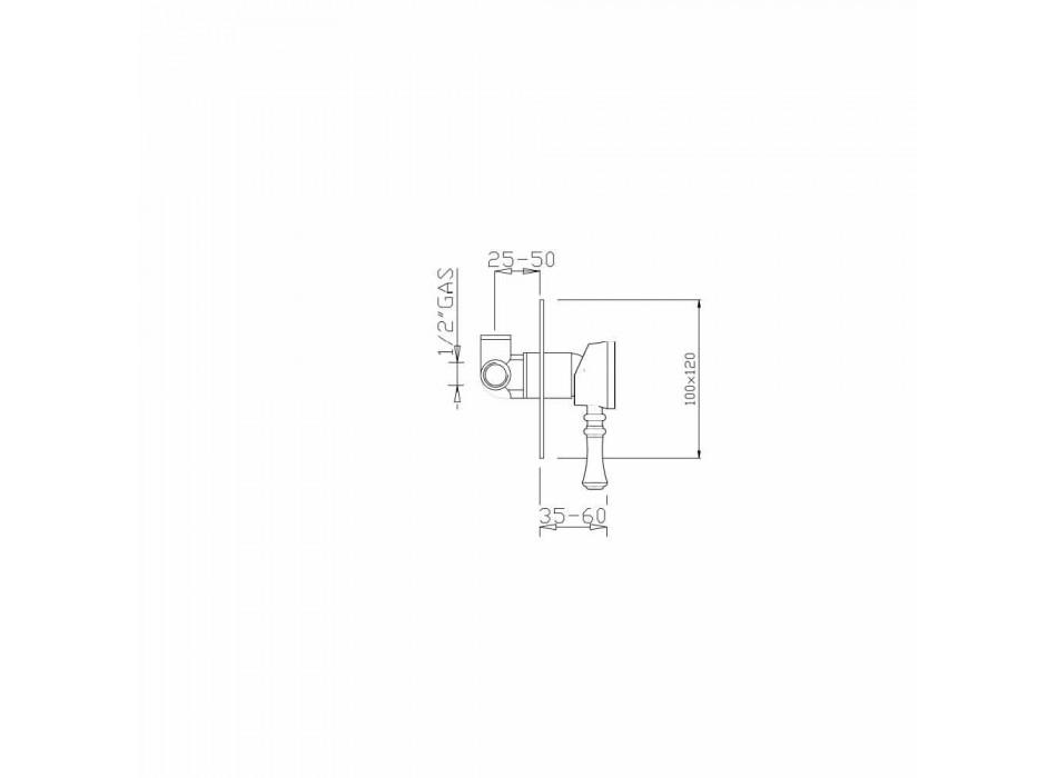 Built-in Shower Mixer in Brass Modern Design Made in Italy - Neno