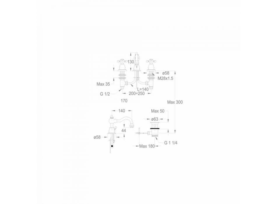 3-Hole Basin Mixer 130 mm High in Brass Made in Italy - Binsu
