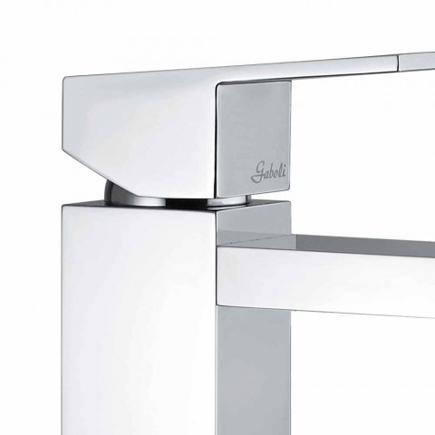 Bathroom Sink Mixer in Square Chromed Brass Made in Italy - Medida