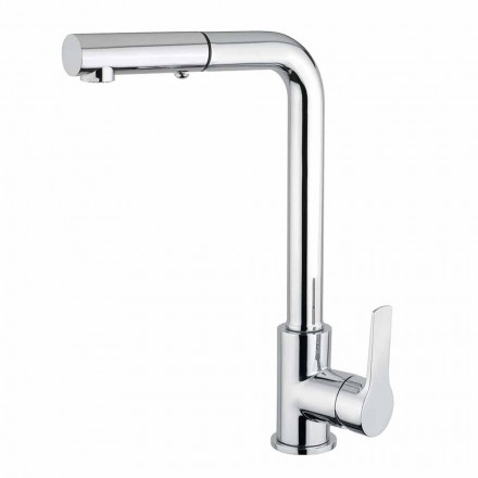 Washbasin mixer with 2-jet hand shower in brass Made in Italy - Croma