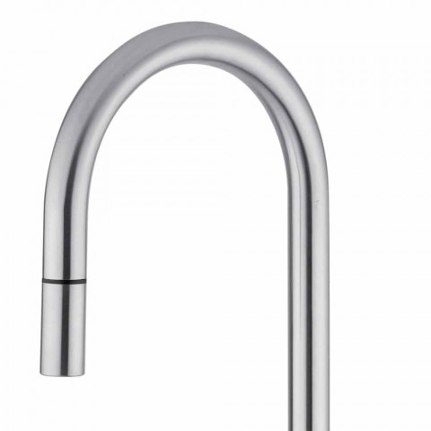 Adjustable Stainless Steel Kitchen Sink Mixer Made in Italy - Lilio