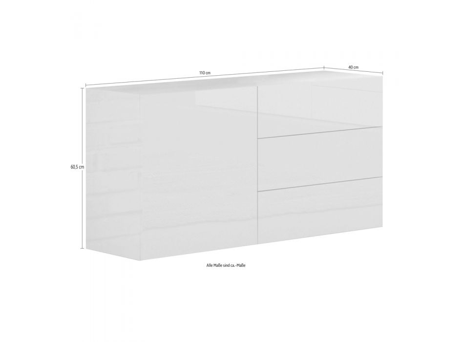 Cabinet 1 or 2 Doors and 3 Drawers White Wood or Glossy Anthracite - Yolanda
