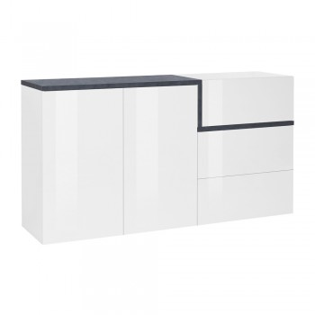 Cabinet 2 Doors 3 Drawers Glossy White Wood and Maple or Slate - Tiscali
